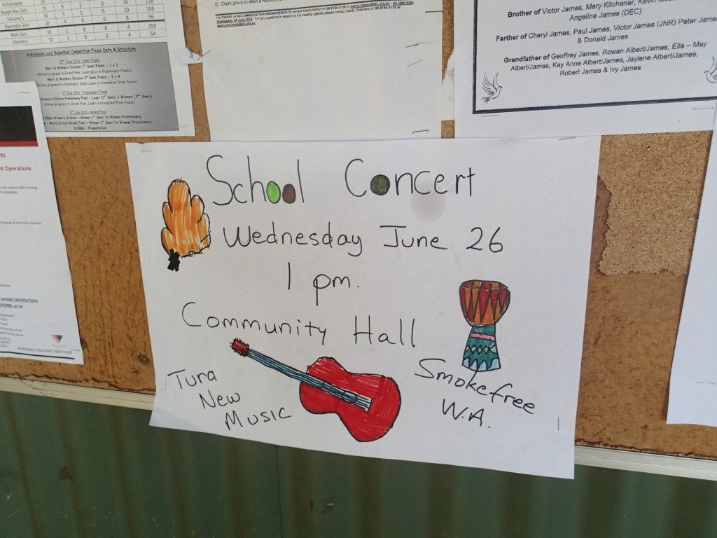 School concert poster, One Arm Point (G. Howell)